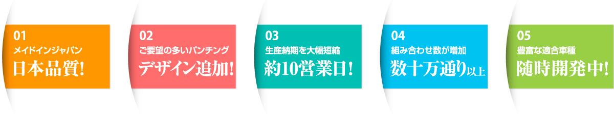 1.メイドインジャパン 日本品質! 2.ご要望の多いデザイン追加! 3.生産納期を大幅短縮 約10営業日! 4.組み合わせ数が増加 数十万通り以上 5.豊富な適合車種 随時開発中!